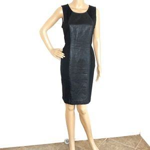 ECI Black Faux Leather Panel Cocktail Dress